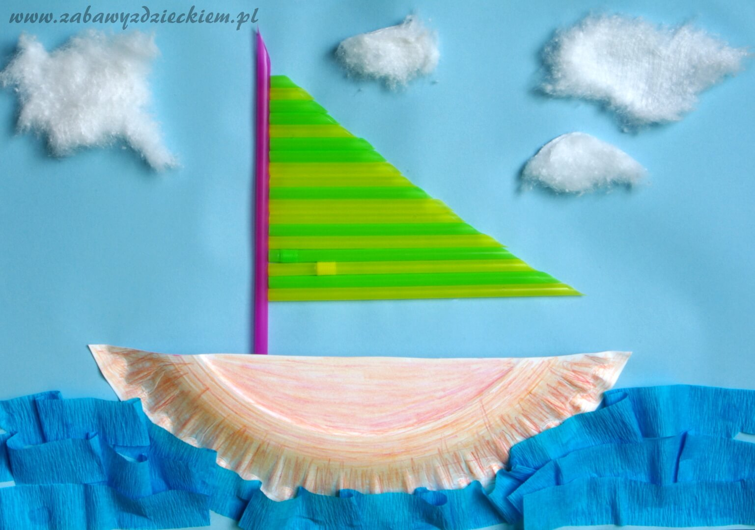 Łódka z papierowego talerzyka i słomki